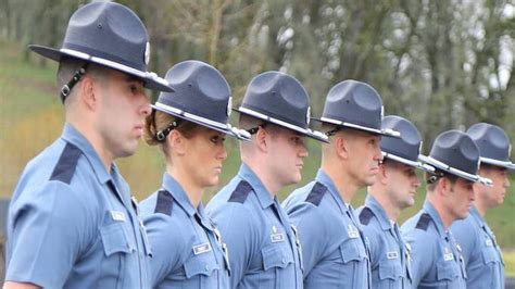 Line of uniformed state troopers