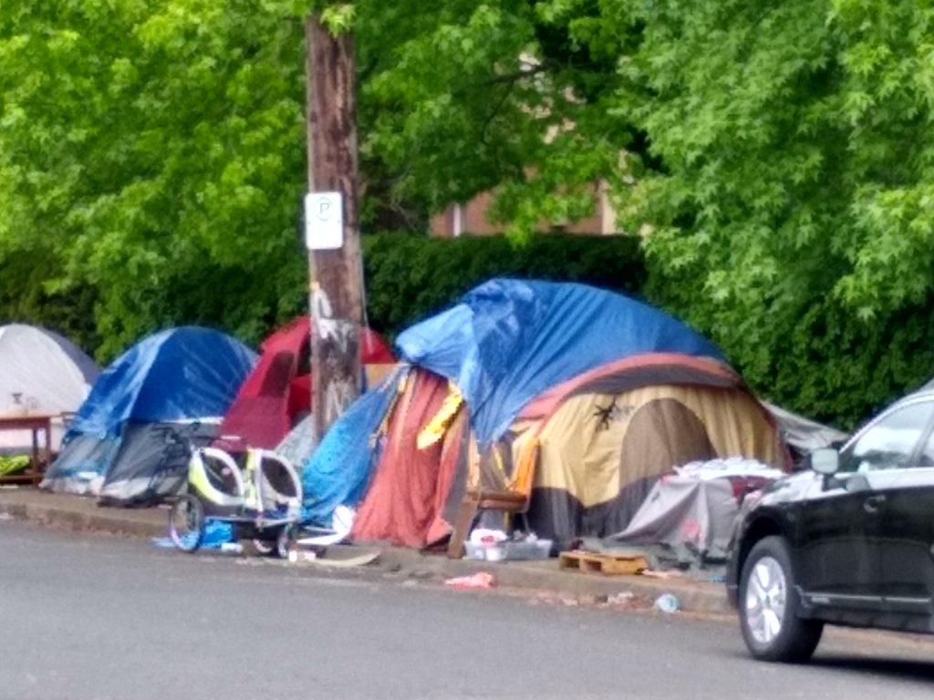Tents and Trash at Homeless Camp